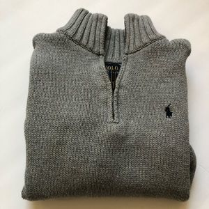 Preloved Gray Polo 3/4 Zip Sweater